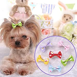 super1798 6 Pcs Dog Cat Puppy Hair Clips Alligator Clips Hair Bow Tie Flower Bowknot Hairpin Pet Grooming Puppy Hair Accessories