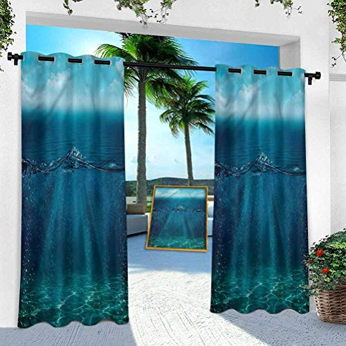 Aishare Store Patio Outdoor Curtain, Aqua,Underwater Sunrays Bubbles, W 52' x L 84' Heavy Duty Indoor Panel for Porch Balcony Pergola Canopy Tent Gazebo Window(1 Panel)