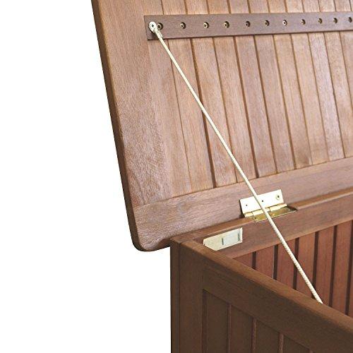 Wohaga® Hartholz Auflagenbox Kissenbox Gartenbox Auflagentruhe Eukalyptus geölt inkl. Innenfolie 133x58x55cm - 7