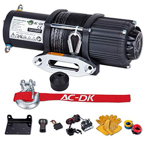 AC-DK 4500 lb. Electric Synthetic Rope ATV/UTV Winch Kits, DC 12V Wireless Winch for Towing Off Road Trailer Winch with Wireless Remote Control, Winch Mounting Bracket, Winch Rope Stopper