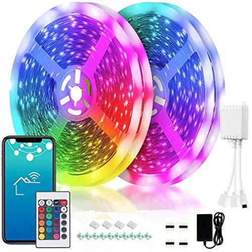 TTNAO Tiras de Led 5M Con 24ke Mando,RGB Multicolor Strip Control inteligente APP WiFi Sincronización Música Fiestas Decor Cocina casera Habitación TV Light[Clase de eficiencia energética A+++]
