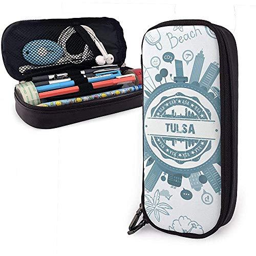 Tulsa Oklahoma Estuche de lápices de cuero de gran capacidad Estuche de lápices Estuche de papelería Organizador de caja Organizador Bolígrafo de maquillaje Bolso de viaje de viaje
