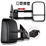 OCPTY Pair Set Power Adjusted Heated View Towing Mirrors for 1999 2000 2001 2002 for Chevy for GMC Silverado Sierra for Chevy for GMC Suburban Tahoe Yukon XL Yukon Black Tow Mirror