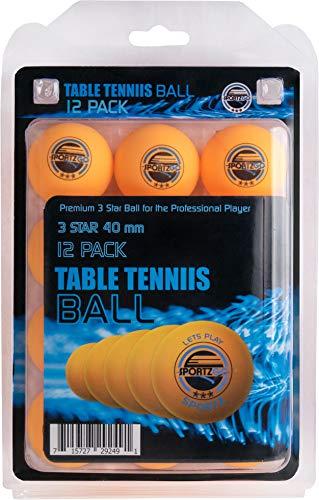 Palline da ping pong Sportly, da 40 mm, con stampate 3 stelle, palline regolamentari per allenamento avanzato., Orange
