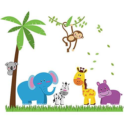 winhappyhome Animaux de coco Stickers Art Mural Arbre pour chambre d'enfant Salon Chambre TV Fond Stickers Decor amovible