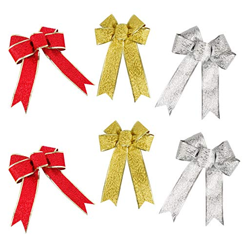 6 Piezas Lazos de Navidad Grandes Lazos de Cinta para Árbol de Navidad para Árboles de Navidad, Barandillas, Ventanas, Coronas, Salas de Estar, Botellas de Vino, Bodas Etc—Rojo, Dorado, Plateado