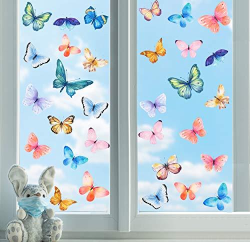 31 Stück Bunt Schmetterlings Fensteraufkleber,Fenstersticker Schmetterling,Schmetterling Fensterbild Frühling Anti-Kollision Aufkleber,Tiere Wandtattoo für Wohnzimmer Mädchen Schlafzimmer Fensterdeko