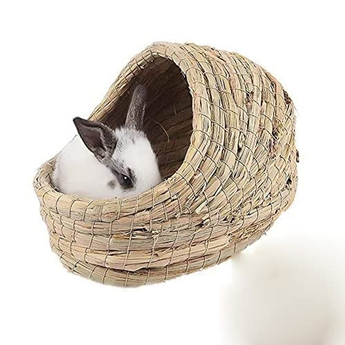 Cama de heno tejida para mascotas de 7.8 'x11' x8.6 'para hámsteres, conejillos de indias, conejos y gatos, cabaña de pasto de conejo, juguetes para masticar de casa de piel de conejito, natural
