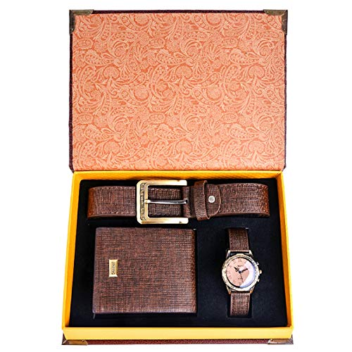 Souarts Birthday Gifts for Men-Watch Set for Men Artificial Leather Watch, Rachet Belt, Wallet and Mens Gifts Set Gifts Box Organizer (Brown)