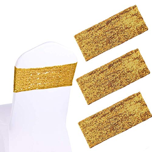 Cooyeah 50Pcs Sequin Chair Sashes 5.9'x13.78' Stretch Spandex Bands Sparkling Chair Cover Decorations for Wedding Banquet Party Festival Shining Home Decor (Gold)