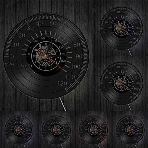 Wwbqcl Tacómetro de Carreras Retro Reloj de Arte de Pared velocímetro Disco de Vinilo Reloj de Pared Carreras de Motos luz de Pared Reloj Racer Regalo