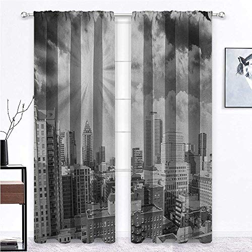 "shirlyhome Black and White Soundproof Curtain Aerial View Montreal Canada Cityscape with Skyscrapers Architecture for Window Kitchen Patio Office Black White Grey - 36"" x 45"", 2 Rod Pocket Panels"