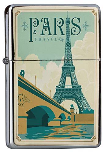 Leotie GmbH Cromato Accendino Benzina Tour Mondiale Parigi Francia Torre Eiffel Senna Ponte Ricaricabile