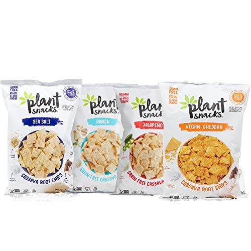 Plant Snacks Cassava Root Chips Ranch, Jalapeno, Sea Salt, Cheddar Variety Pack, Big-8 Allergen Free, Non-GMO Project Verified, Gluten Free, Grain Free, No Added Sugar, 5 oz Bags, Pack of 4