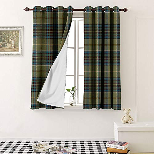 """Patterned Drape For Glass Door tartan plaid scottish seamless pattern background black red green blue gold and white colo grommet Waterproof Window Curtain (2 Pieces, 27.5"""" Wide Each Panel)"""
