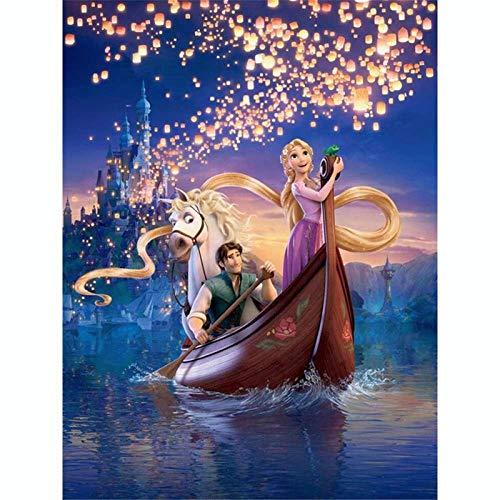 Kit de pintura de diamantes coloridos, Rapunzel Precios de pintura con diamante por número Kits 5D Full Drill Round Rhinestone Bordado punto de cruz Decoración de la pared del hogar 30 x 39 cm