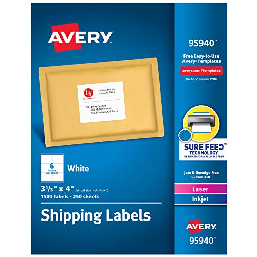 Avery Shipping Address Labels, Laser & Inkjet Printers, 1,500 Labels, 3-1/3x4 Labels, Permanent Adhesive (95940) , White