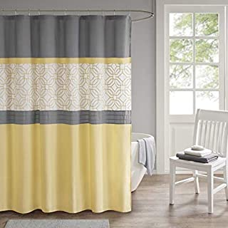 510 Design Donnell Embroidered And Pieced Geometric Modern Oriental Bathroom Shower Curtain With Liner, 72X72 Inches, Yellow/Gray