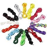 15 Piezas de 2mm de Cordón de Nylon de Seda, para Collar Pulsera cordón de Reborde para joyería Haciendo Accesorios Para el Collar Trenzado,10 Metros Cada uno 15 Colores