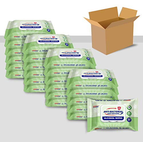 Germisept Advanced 75% Alcohol Antiseptic Hand Sanitizer Multipurpose Wipes (50 Count X 24 packs = [ 1200 Wipes ])