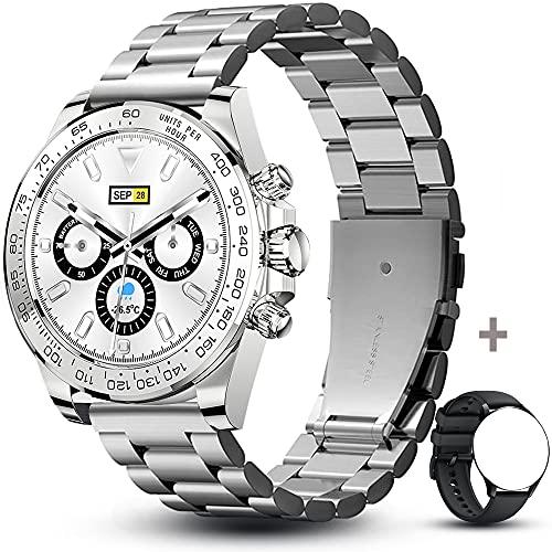 Smartwatch Orologio Intelligente con 1.28 Schermo a colori tattile completo IP68 Fitness Tracker Cardiofrequenzimetro Pressione Sanguigna Monitor Ossigeno Nel Sangue Nuoto per Android e iOS(Argento)