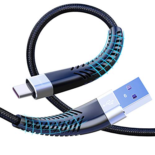 Cabepow Lang USB C Kabel 2M, 2Pack 6ft Type C Ladekabel, Nylon Geflochten 3A Schnelles Aufladen/Synchronisation USB C auf A Kabel für Samsung S10 S9 S8 Plus Note10 9 8 LG G5 G6 HTC, Huawei,Google