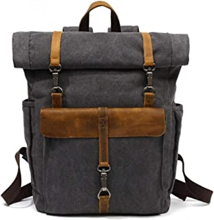 Bearky Bag Green Khaki Man Leather Canvas Rolltop Backpack Large-Capacity Fashion Multi-Function Leisure Travel Bag (Color : Gray, Size : 15.6inches)