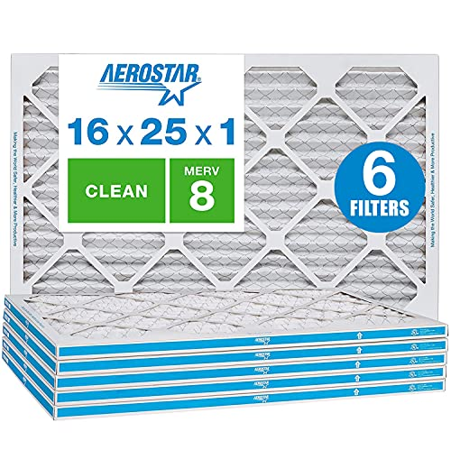 Aerostar Clean House 16x25x1 MERV 8 Pleated Air Filter, Made in the USA, 6-Pack,White