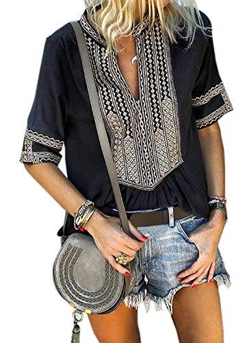 Aleumdr Womens Casual V Neck Shirt Boho Print Short Sleeve Tops Loose Blouse Black XX-Large 18 20