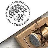 Stempel Personalisiert Namen Adresse Baum des Lebens, Persönlicher Stempel Individuell Hochzeit Geschenk, Holzstempel Baum Rund, Einzigartige Geschenkbox