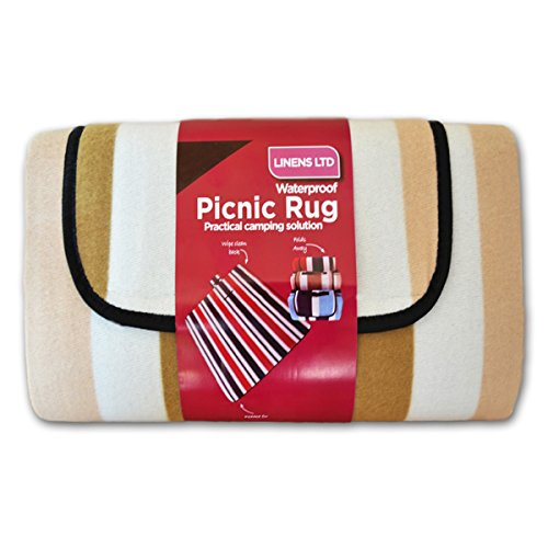 Linens Limited - Couverture de Pique-Nique - Polaire - résiste à l'eau - Rayures - Beige - 105 x 135 cm