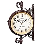 Sundlight Hanging Clock, Vintage Wrought Iron Innovative Double Sided Wall Clock Train Station Style Round Clock Home,Hotel,Living Room Decor