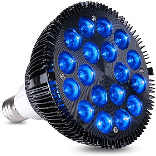 LED Aquarium-Licht E27 Glühlampe, 36W Aquarium Lichter 450-460nm 18pcs blaue LEDs Pant Lampe für Zimmerpflanzen Veg Aquarium Pflanzen wachsen,54w