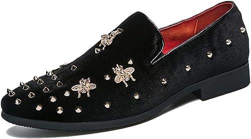 YAN Herren Kleid Schuhe, Mode Spitzen Schuhe Cord Frühling & Herbst Komfort Loafers & Slip-Ons Hochzeit & Abend Formelle Schuhe (Farbe   Schwarz Größe   44)