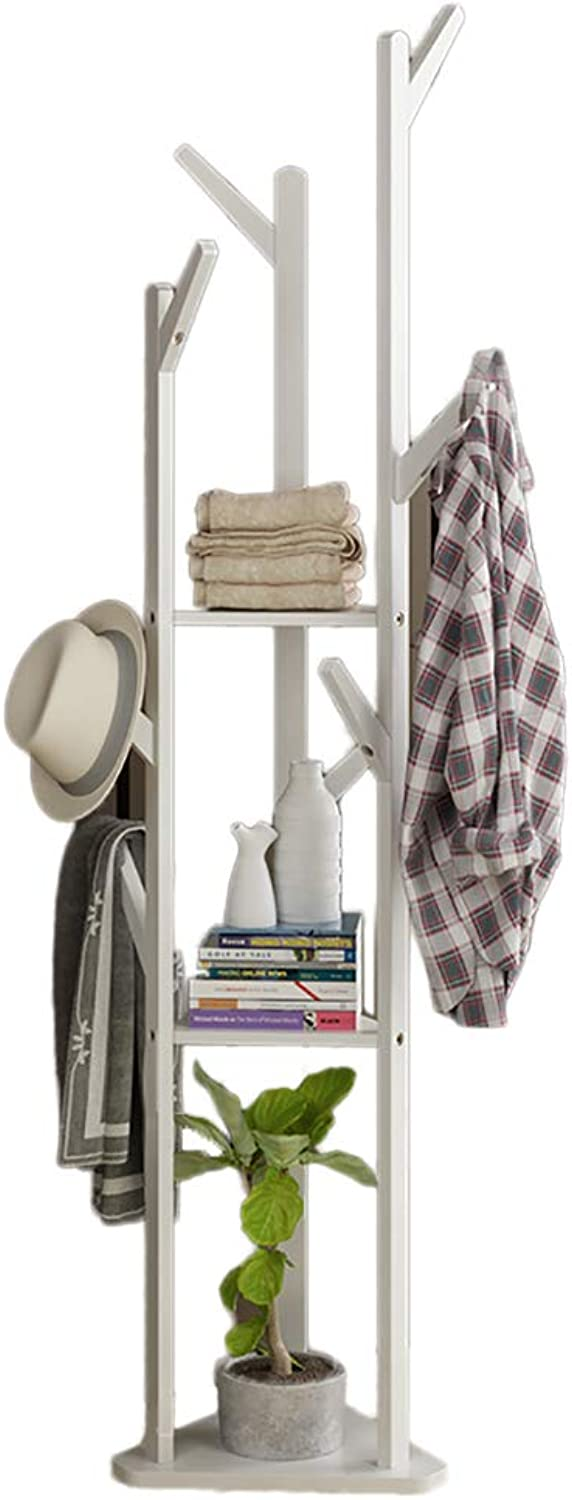 Bamboo Tree Storage Shelves and Hooks Stand Rack, Garment Clothes Coat Has Umbrella Portable Hanger, Free Standing Entryway-B 175x35cm(69x14inch)