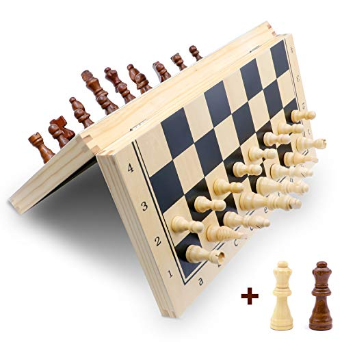 Magnetic Chess Set,15' Folding Wooden Chess Set Board Game for Adults,Travel Chess Set for Kids