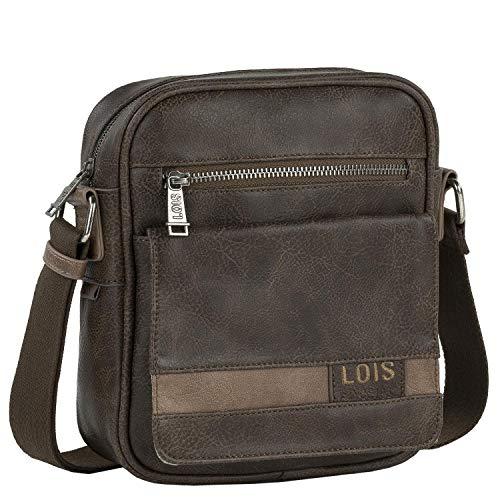 Lois - Bolso con Bandolera Ajustable Mediana para Hombre Ideal para Uso Diario 310221, Color Marron