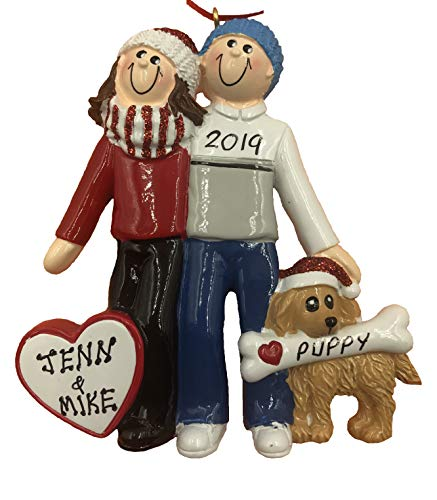Personalized Couple with Dog Christmas Ornament 2020