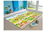 MyLine Baby Play Mat, Foam Floor Gym Rug, Non-Toxic, Non-Slip, Reversible, Waterproof, Great for Children, Toddler and Infant (Super Large, 78.7''x70.9''), Animal School/Train ABC