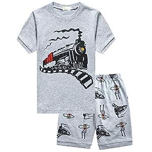Toddler Boys Pajamas Cotton Summer Pjs for Boy Jammies Dinosaur Train Sleepwear Short Sets