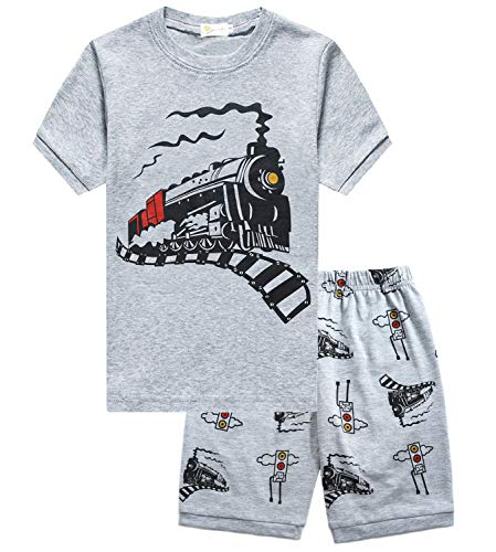 Little Hand Boys Kids Toddler Pajamas Truck Train 2 Piece Pjs Set 100% Cotton Summer Clothes for Size 3T