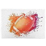 Scie Sauteuse Puzzles D'images 1000 Pièces,Ballon de rugby en aquarelle numérique Splash Design de course de loisirs de loisirs,Jeu de Famille Drôle Décoration de Maison Suspendue,29.5' x 19.7'