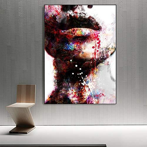 wZUN Chica Abstracta Arte de la Pared Pintura de la Lona impresión Labios Sexy Arte Pop Arte de la Pared Imprimir Imagen para la decoración de la Sala de Estar 60X90 Sin Marco