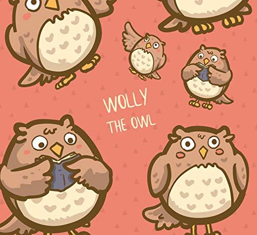 5er-Set Geschenkpapier Bögen Wolly The Owl Eule - Für Geburtstage, Hochzeiten, Weihnachten, Kindergeburtstag Format : 50 x 70 cm
