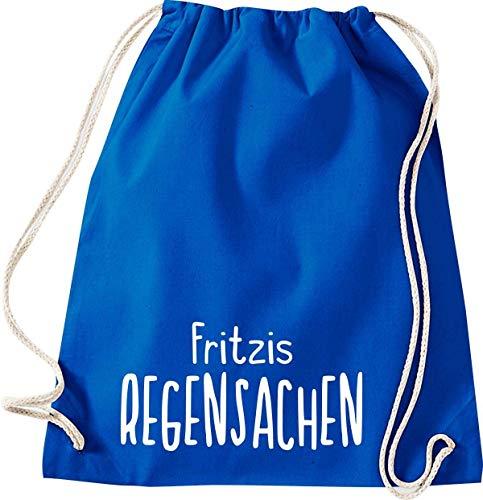 Shirtinstyle Turnbeutel, Regensachen mit Wunschnamen, Kita, Hort, Schule, Freizeit, Gym Sack Tasche Beutel, Farbe royal