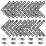 Staffe Angolari Piatta Gradi Supporti Angolo Retto Staffe in Acciaio Squadrette Angolar a Forma di L con Viti per Riparazione Mensola di Legno Tavolo Sedia 80 * 80 mm 20 Pezzi