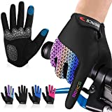 BEACE Cycling Gloves Bike Gloves Biking Gloves for Women(Colorful Night Glow) with Touch Screen-Workout Gloves Full Finger Road Gloves Mountain Bike Gloves Anti-Slip Silicone Palm