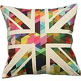 JudyArtOnlineStore Cotton Linen Decorative Throw Pillow Case Cushion Cover British Union Jack Colorful Rhombus Geometric 18 X 18 inches