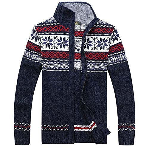 Kedera Casual Men's Thick Knitted Zipper Cardigan Sweater with Pattern (Small, Blue)