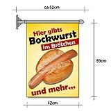 net-xpress Fahne Bockwurst im Brötchen A2 Flagge Wurst Snack Imbiss Werbung Plakat